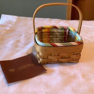Longaberger Coaster Basket w/liner & protector